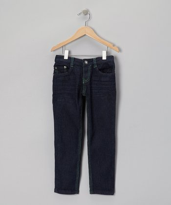 Dark Wash & Lime Skinny Jeans - Girls