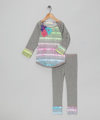 Gray Rainbow Tie-Dye Raglan Tee & Leggings - Toddler & Girls