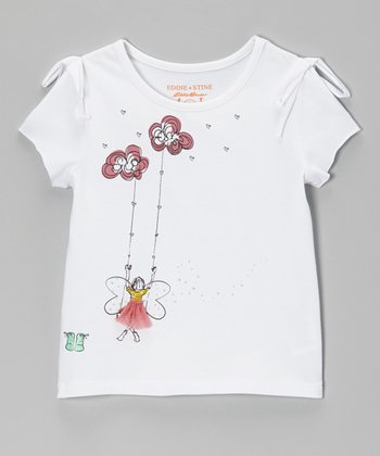 White Daydreamer Knotted Tee - Girls
