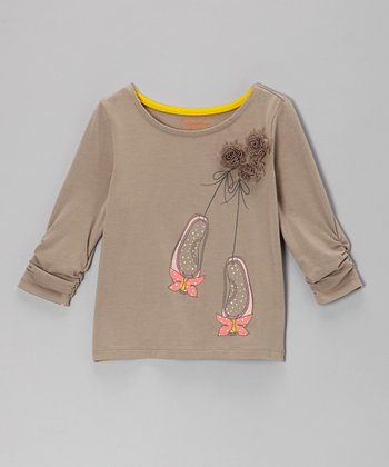Taupe A Pair to Spare Top - Toddler & Girls