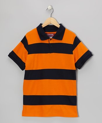 Orange & Navy Stripe Polo