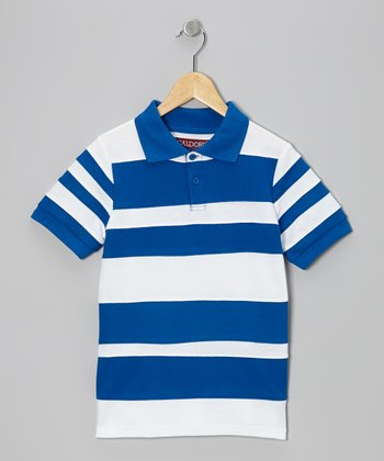 White & Blue Stripe Polo