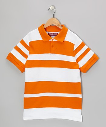 Orange & White Stripe Polo