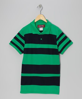 Green & Navy Stripe Polo