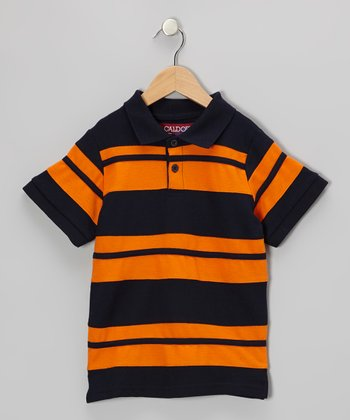 Navy & Orange Stripe Polo