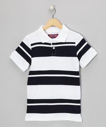 White & Navy Stripe Polo