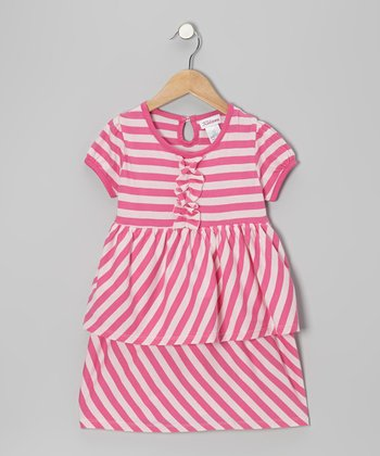 Pink & White Stripe Ruffle Dress - Toddler & Girls