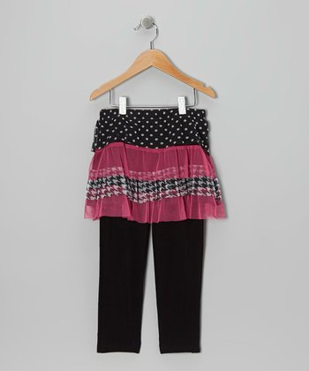 Black & Pink Polka Dot Ruffle Skirted Leggings - Toddler & Girls