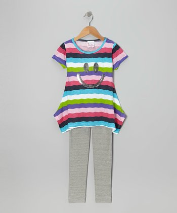 Rainbow Stripe Sequin Smiley Tunic & Gray Leggings - Girls