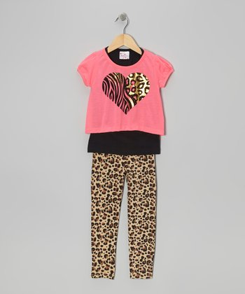 Hot Pink Leopard Heart Tee Set - Girls