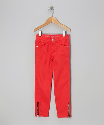 Orange Zipper Skinny Jeans - Girls