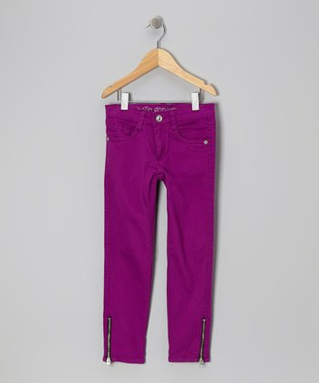 Purple Zipper Skinny Jeans - Girls