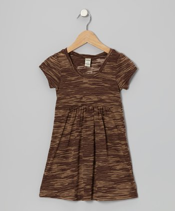 Brown Camel Burnout Dress - Toddler & Girls