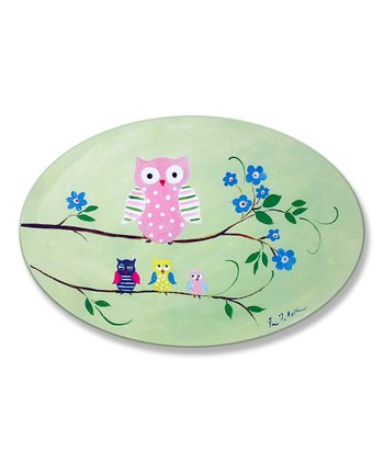 Pink Owl Oval Plaque