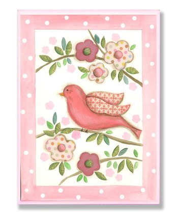 Pink Bird on Branch Wall Art