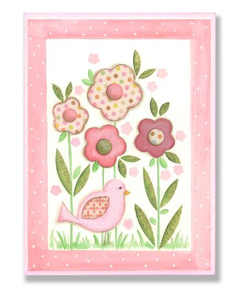 Pink Bird & Flowers Wall Art