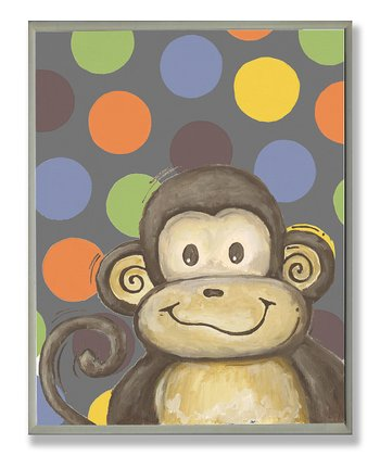 Gray Polka Dot Monkey Plaque