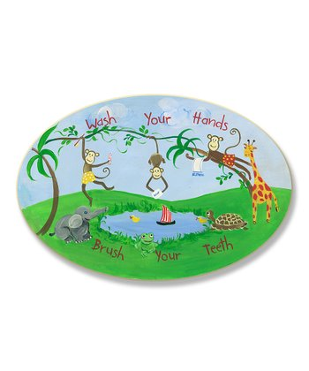 'Wash Your Hands' Jungle Oval Wall Plaque