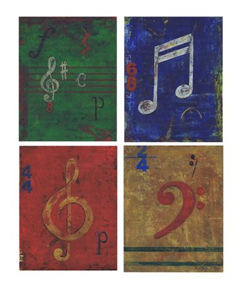 Distressed Musical Note Wall Art Set