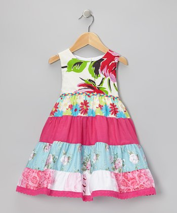 Pink Floral Tiered Babydoll Dress - Toddler & Girls