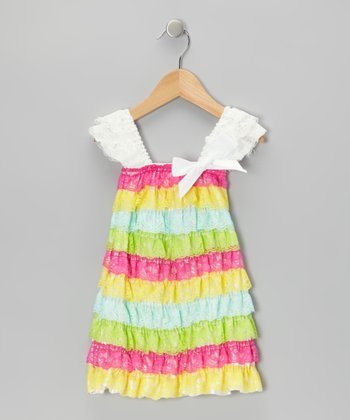 Pink & Yellow Light Bright Lace Ruffle Dress - Toddler & Girls