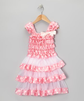 Pink Polka Dot Tiered Ruffle Dress - Toddler & Girls