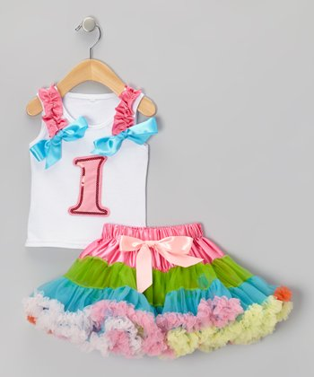 White '1' Ruffle Tank & Rainbow Pettiskirt - Infant