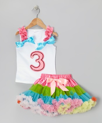 White '3' Ruffle Tank & Rainbow Pettiskirt - Toddler