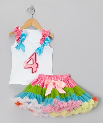 White '4' Ruffle Tank & Rainbow Pettiskirt - Toddler