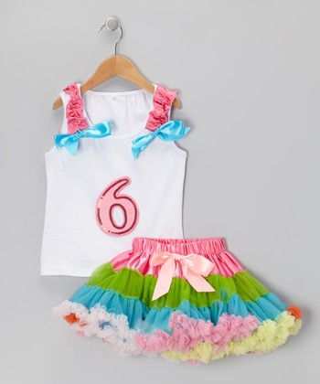 White '6' Ruffle Tank & Rainbow Pettiskirt - Girls