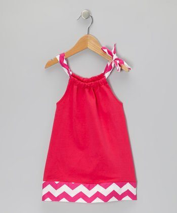 Hot Pink Zigzag Swing Dress - Infant, Toddler & Girls