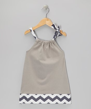 Gray Zigzag Swing Dress - Infant & Girls