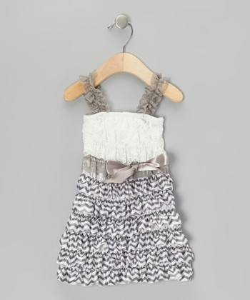 Gray Zigzag Ruffle Dress - Infant, Toddler & Girls