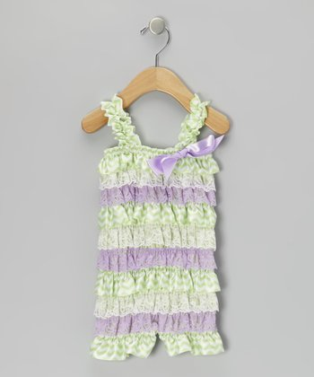 Purple & Green Lace Ruffle Romper - Infant & Toddler