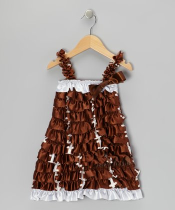 Brown Football Ruffle Dress - Infant, Toddler & Girls