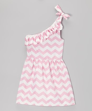 Pink Zigzag Ruffle Asymmetrical Dress - Girls