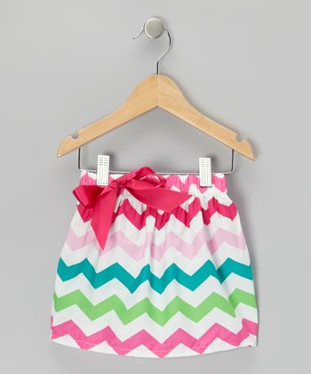 Pink & Green Zigzag Skirt - Toddler & Girls