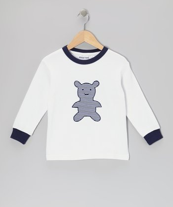 White Stripe Bear Tee - Toddler & Boys