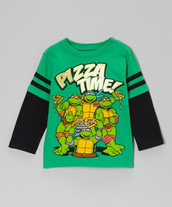 Green TMNT 'Pizza Time' Layered Tee - Toddler