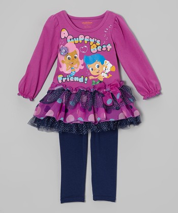 Purple 'Guppy's Best Friend' Layered Dress & Leggings - Toddler