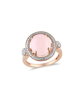 Pink Opal & Diamond Floating Ring