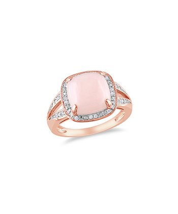 Pink Opal & Diamond Cushion Ring