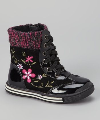 Black Patent Embroidered Boot