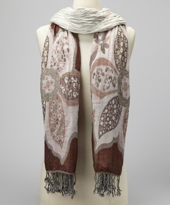 Brown & Pink Floral Scarf