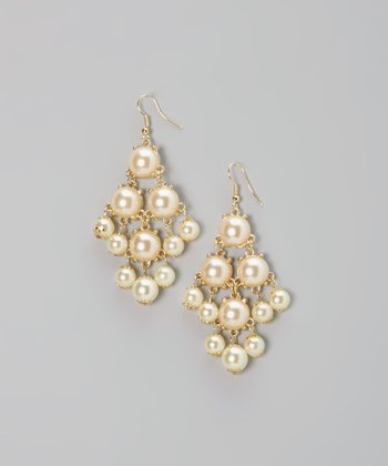 Pearl & Gold Mod Dot Earrings