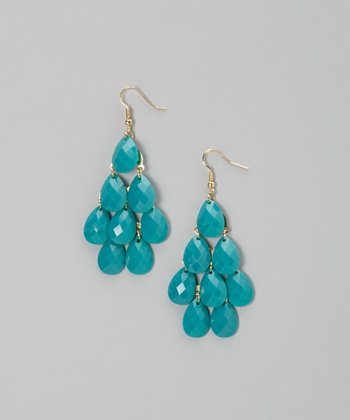 Deep Aqua Teardrop Earrings