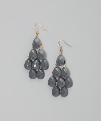 Charcoal Gray Teardrop Earrings