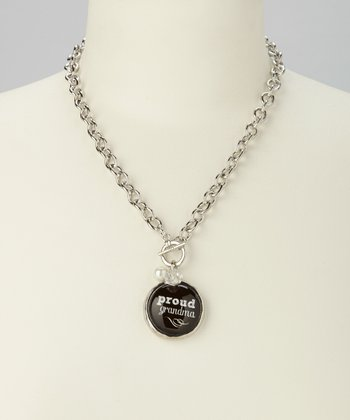 Silver & Black Link 'Proud Grandma' Charm Necklace
