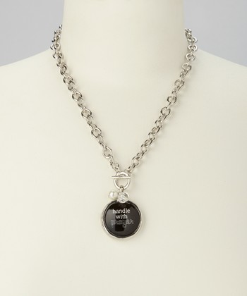 Silver & Black Link 'Handle with Prayer' Charm Necklace