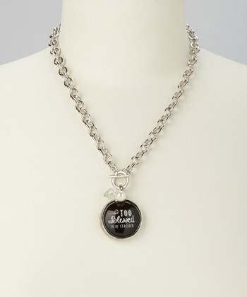 Silver & Black Link 'Too Blessed' Charm Necklace